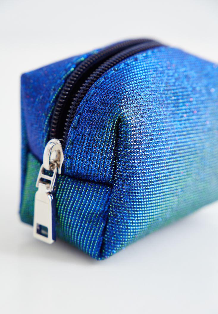 Mavi Simli Mini Cüzdan