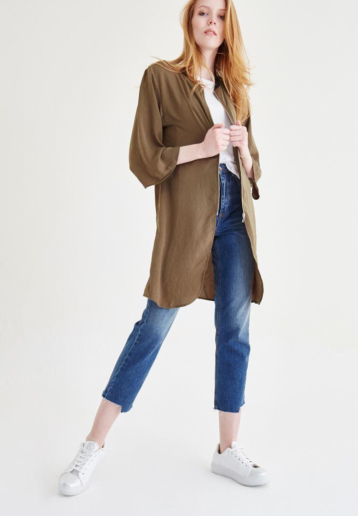 Bayan Yeşil Uzun Ceket