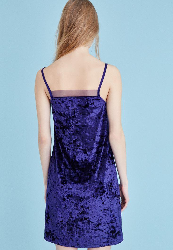 Bayan Mor Kadife Askılı Elbise