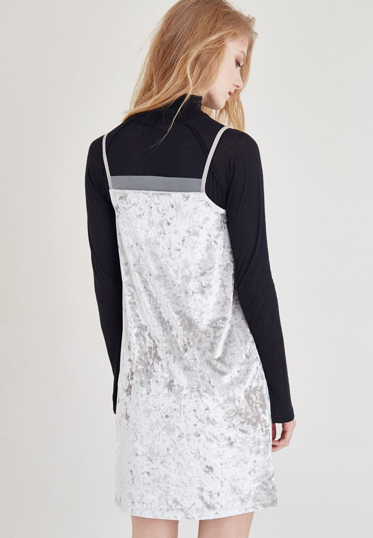 Bayan Gri Kadife Askılı Elbise