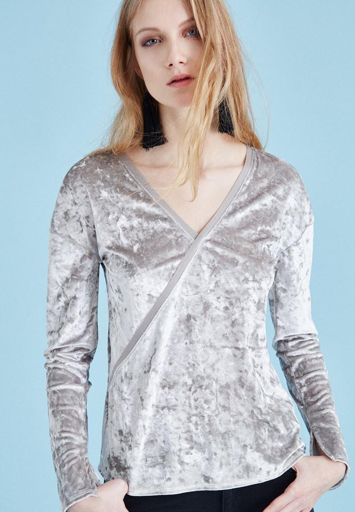 Bayan Gümüş Kadife V Yaka Bluz