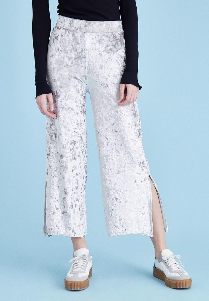 Bayan Gri Kadife Yırtmaç  Pantolon