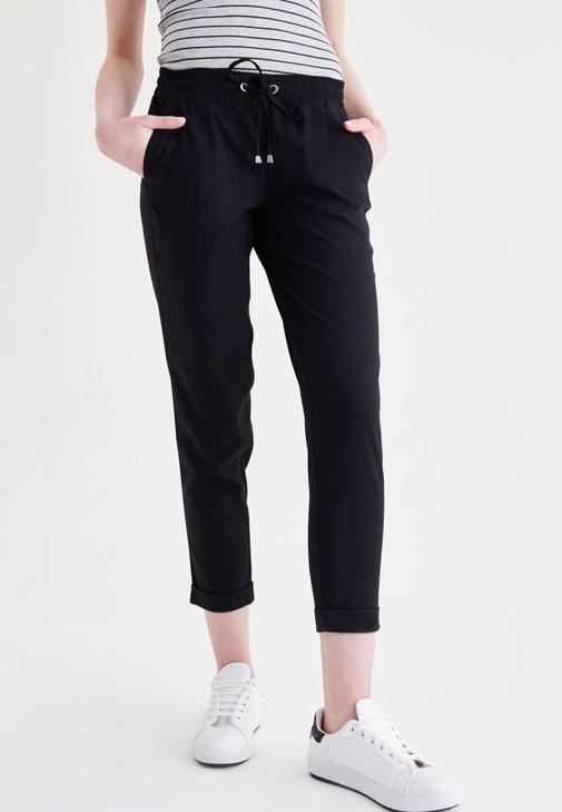 Siyah Beli Lastikli Havuç Pantolon