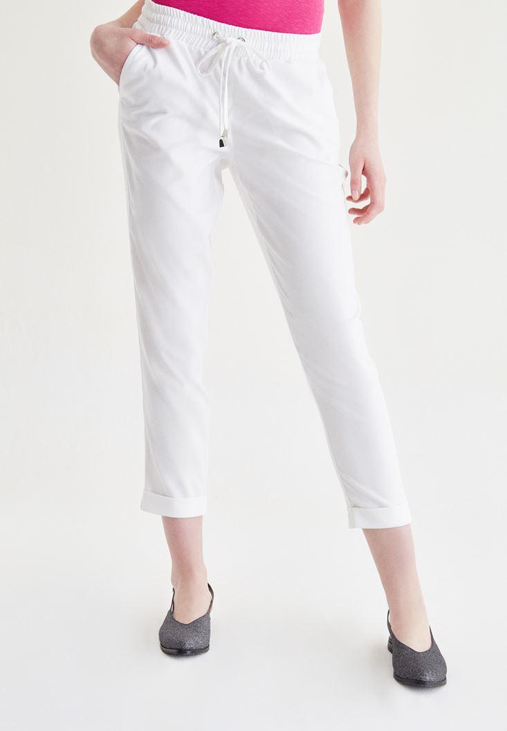 Beyaz Beli Lastikli Havuç Pantolon
