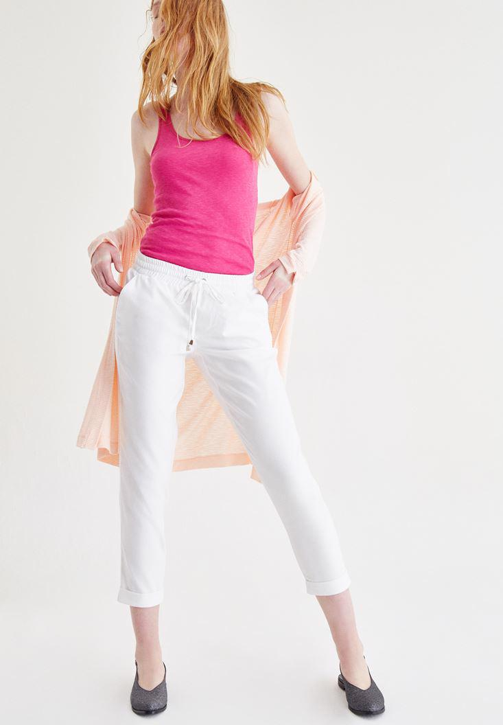 Women White Jogger Pants