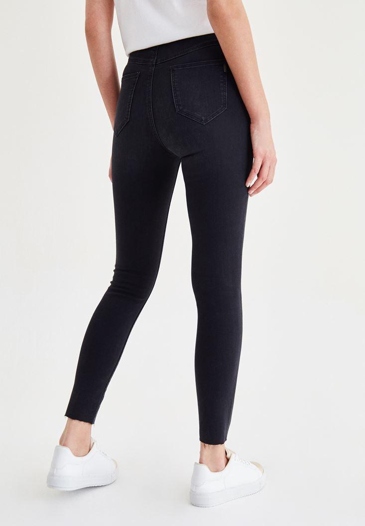 Bayan Siyah Ultra Yüksek Bel Dar Paça Pantolon