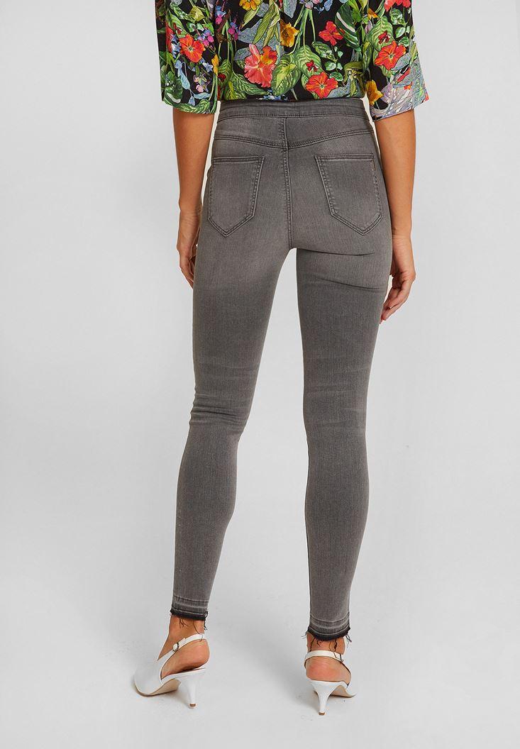 Bayan Gri Ultra Yüksek Bel Dar Paça Pantolon