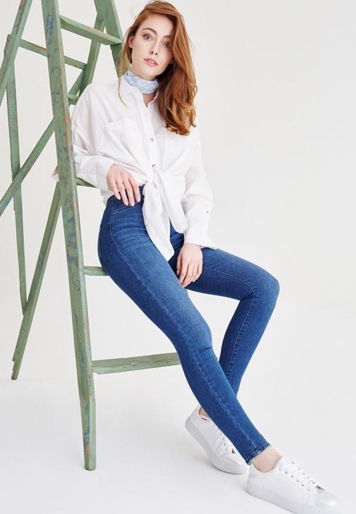 Mavi Ultra Yüksek Bel Dar Paça Pantolon