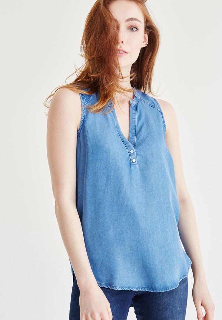 Mavi Sıfır Kol Denim Bluz