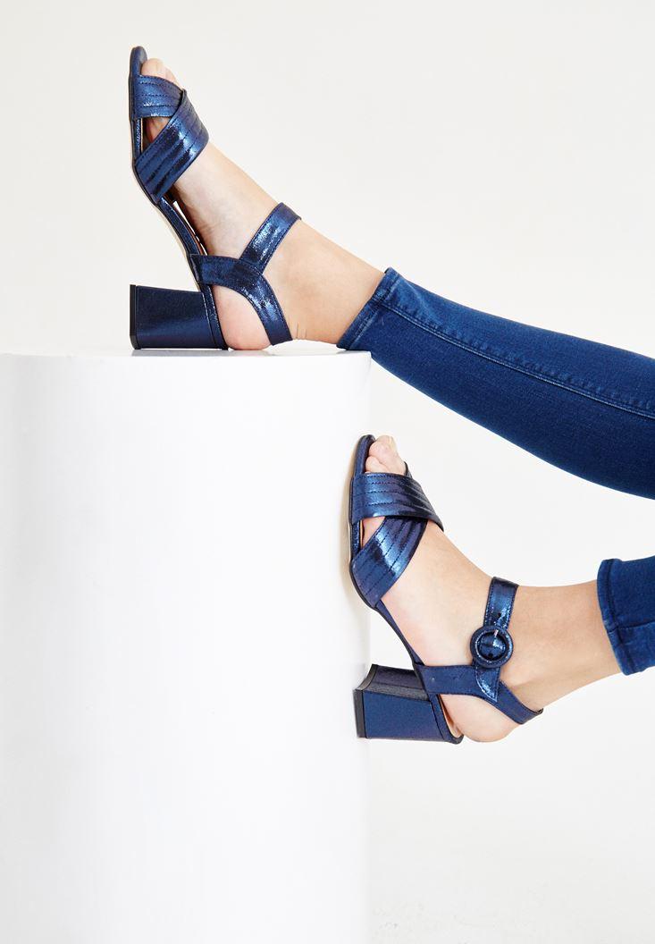 Lacivert Bilekten Bağlamalı Topuklu Ayakkabı