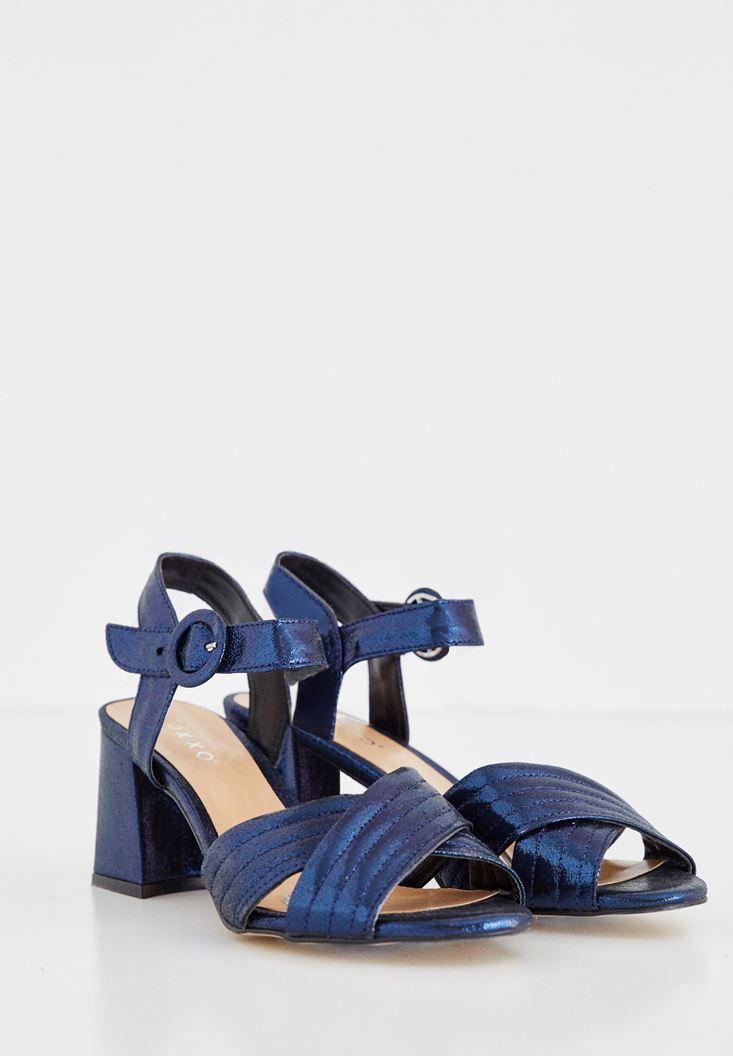 Bayan Lacivert Bilekten Bağlamalı Topuklu Ayakkabı