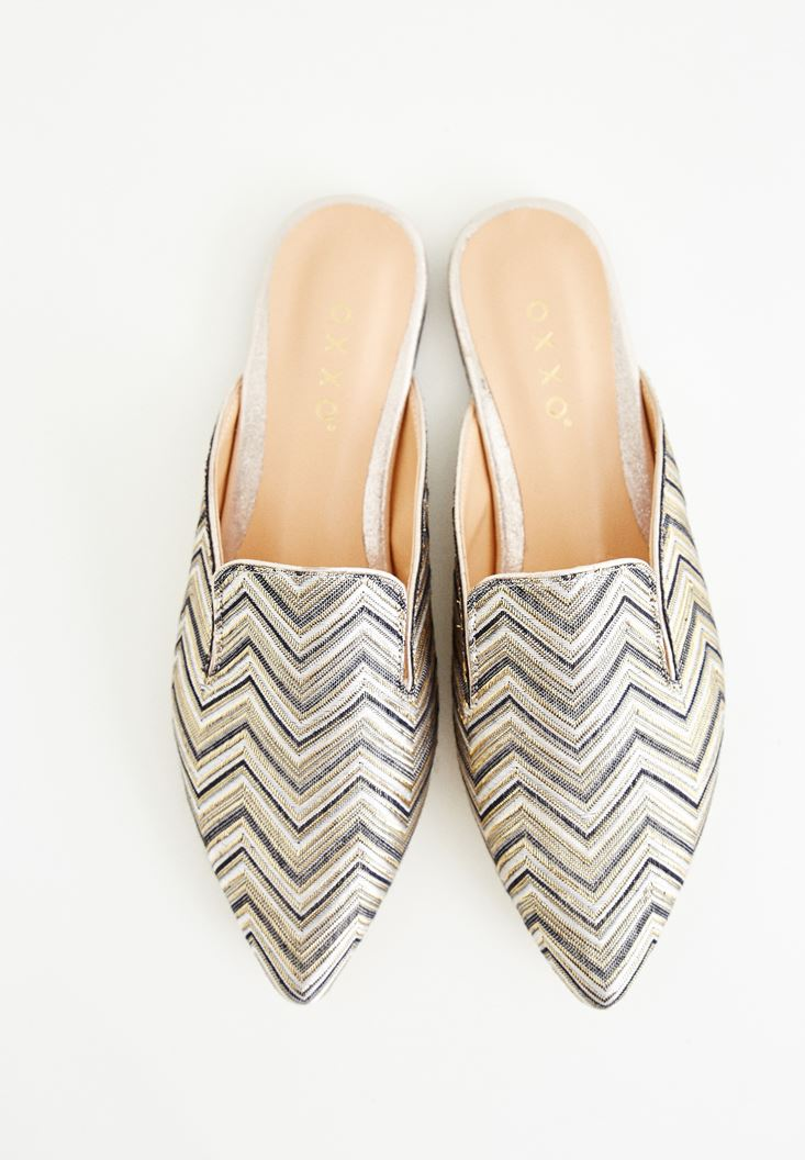 Gold Zigzag Slippers