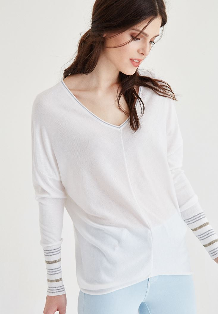 Cream Sleeve Detailed V Neck Knitwear
