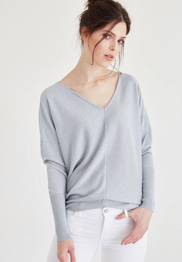 Grey Silvery V Neck Knitwear