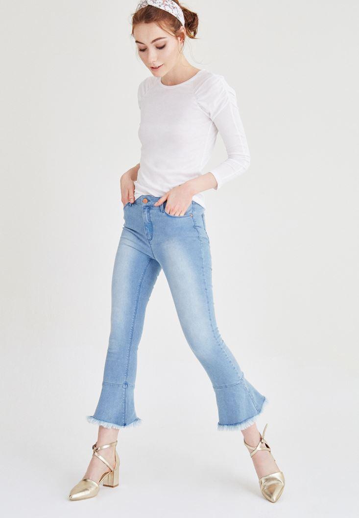 Mavi Paçası Volanlı Kot Pantolon