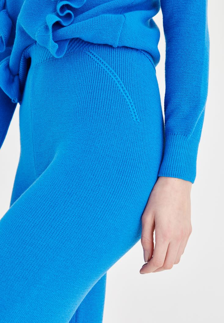 Bayan Mavi Fırfır Detaylı Triko Pantolon