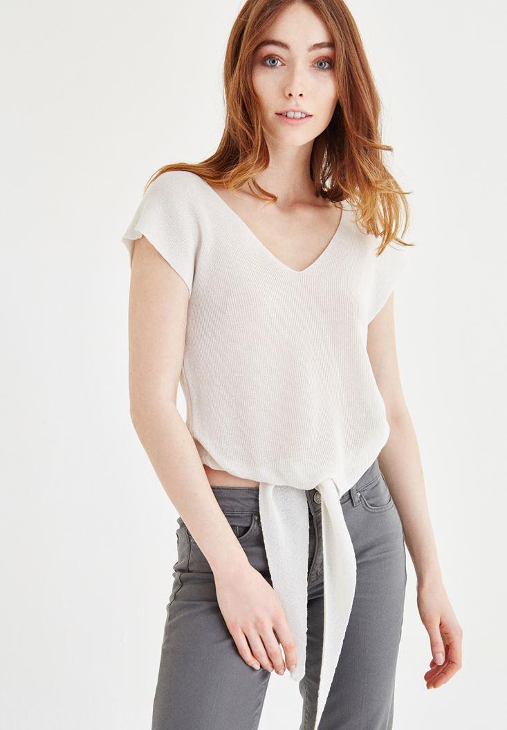 Cream V Neck Knitwear