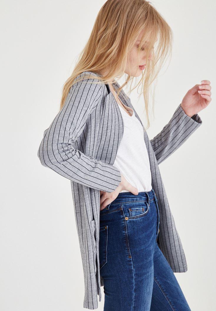 Çok Renkli Çizgili Uzun Ceket