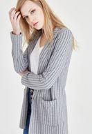Bayan Çok Renkli Çizgili Ceket