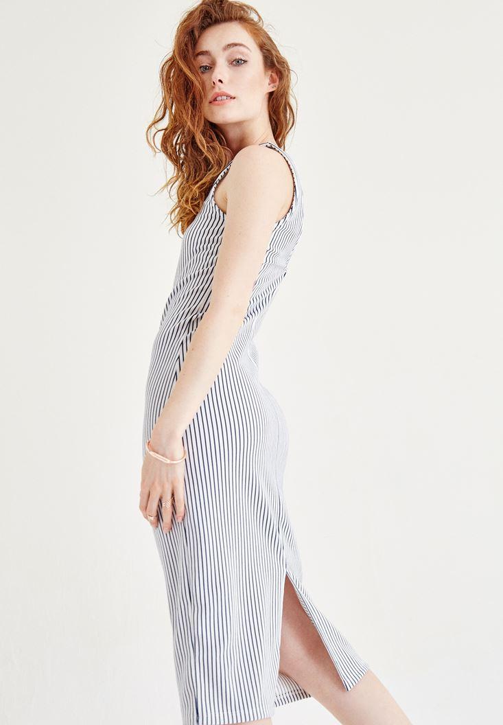 Bayan Çok Renkli Çizgili Elbise
