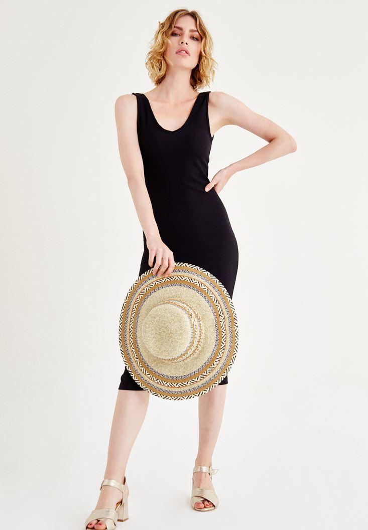 Siyah Kolsuz Uzun Elbise