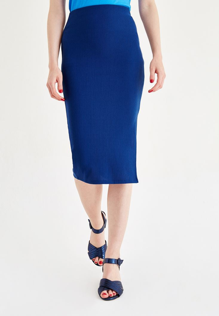 Navy Slit Skirt