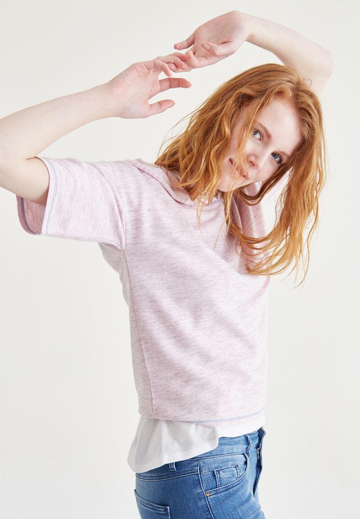 Pembe Kapüşonlu Tişört
