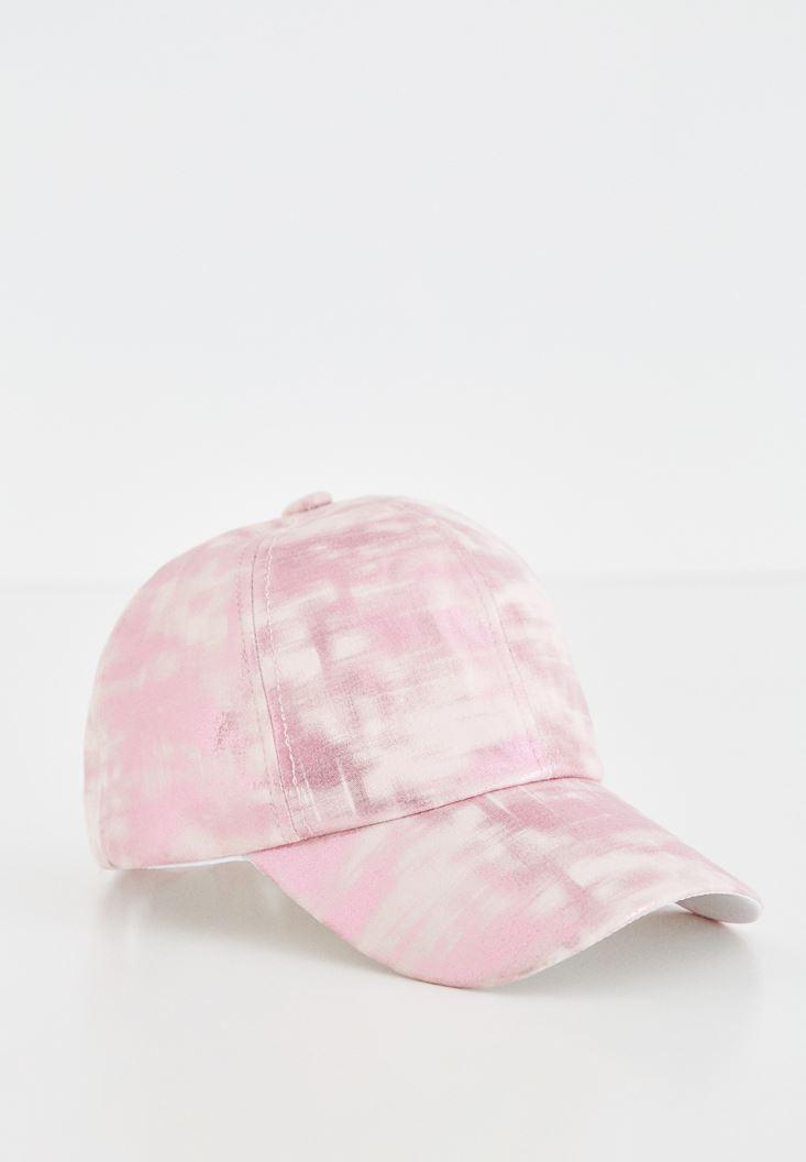 Pembe Metalik Baskılı Şapka