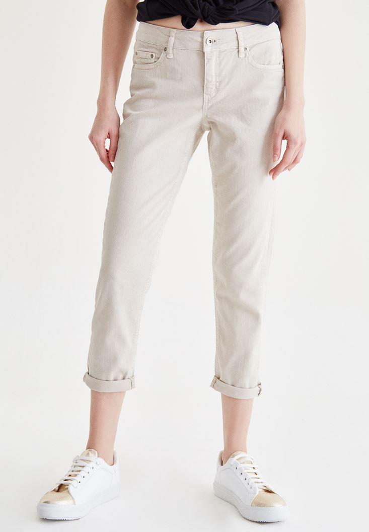 Cream Slim Boyfriend Pants