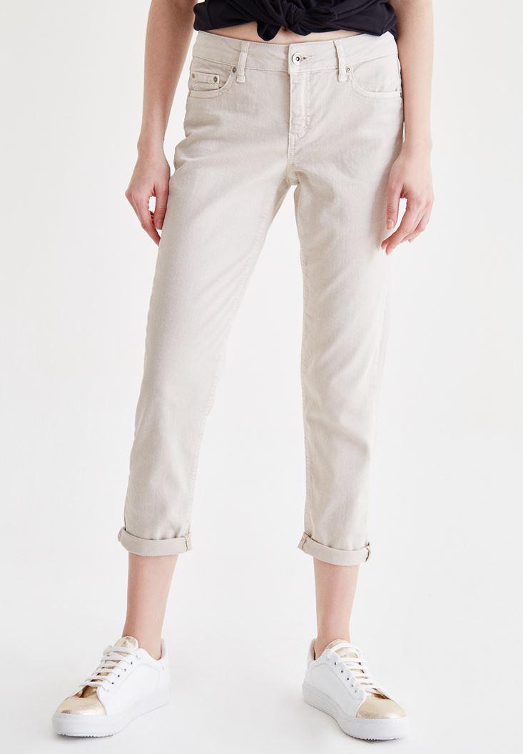 Bayan Krem Kısa Paça Slim Boyfriend Pantolon
