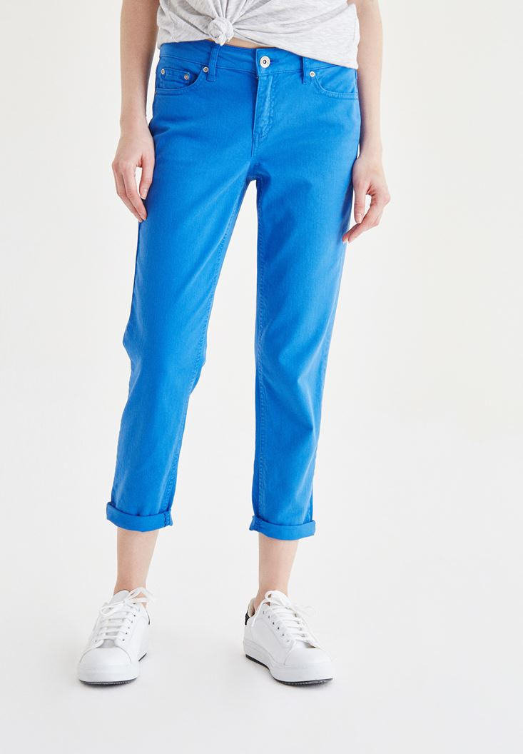 Mavi Kısa Paça Slim Boyfriend Pantolon