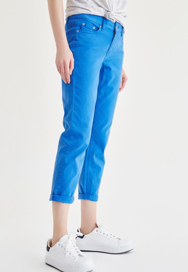 Bayan Mavi Kısa Paça Slim Boyfriend Pantolon