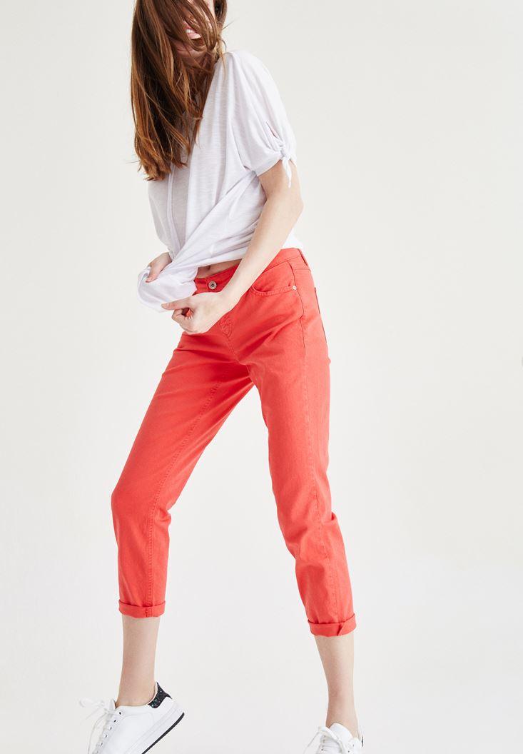 Kırmızı Kısa Paça Slim Boyfriend Pantolon
