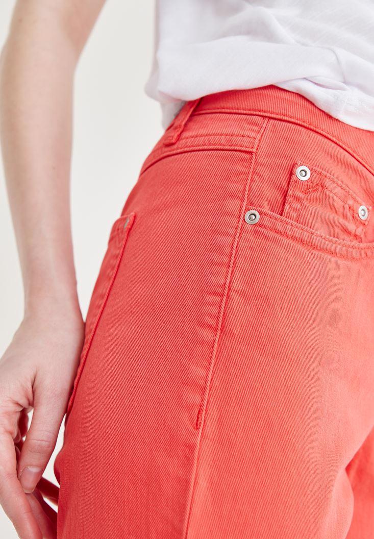 Women Red Slim Boyfriend Pants