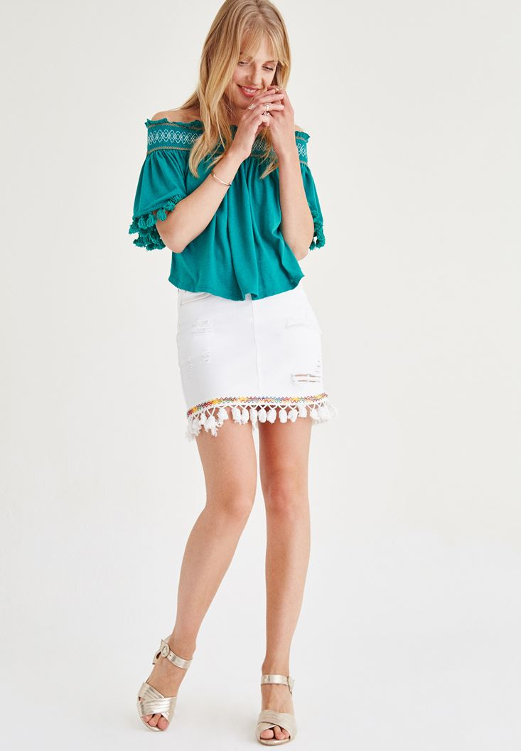 White Skirt With Tassel