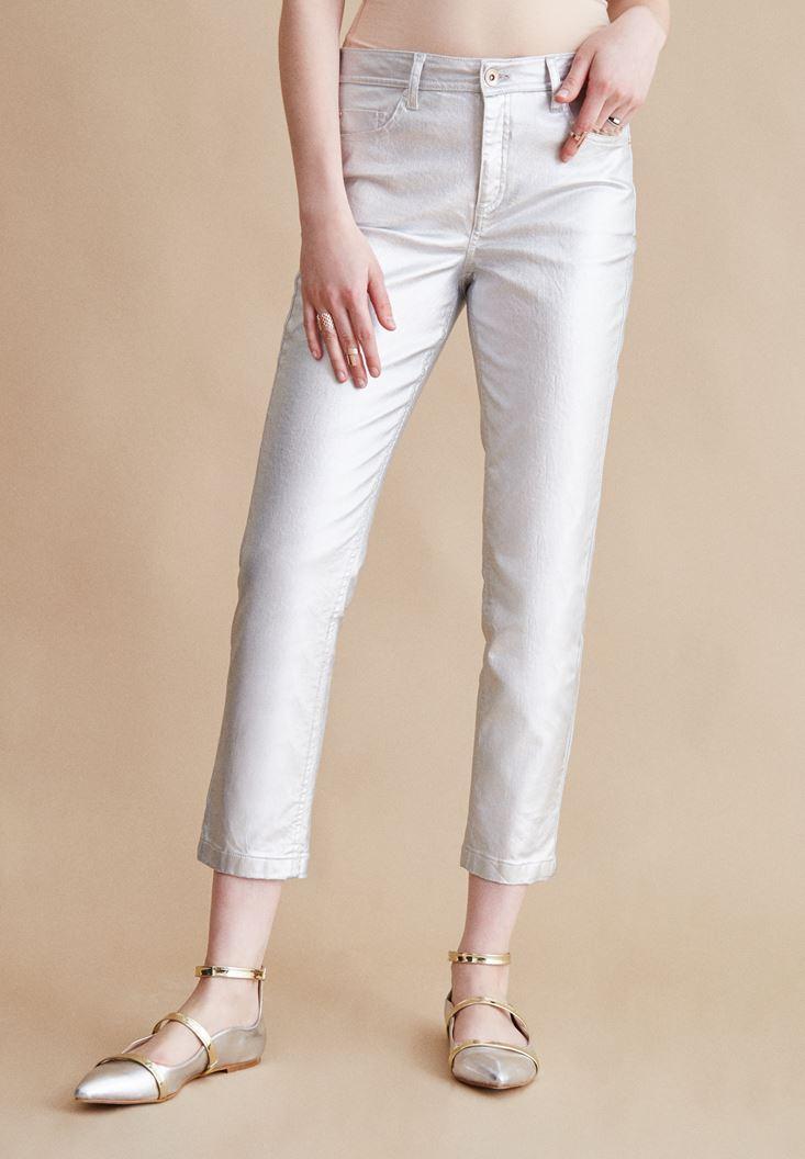 Gri Metalik Pantolon