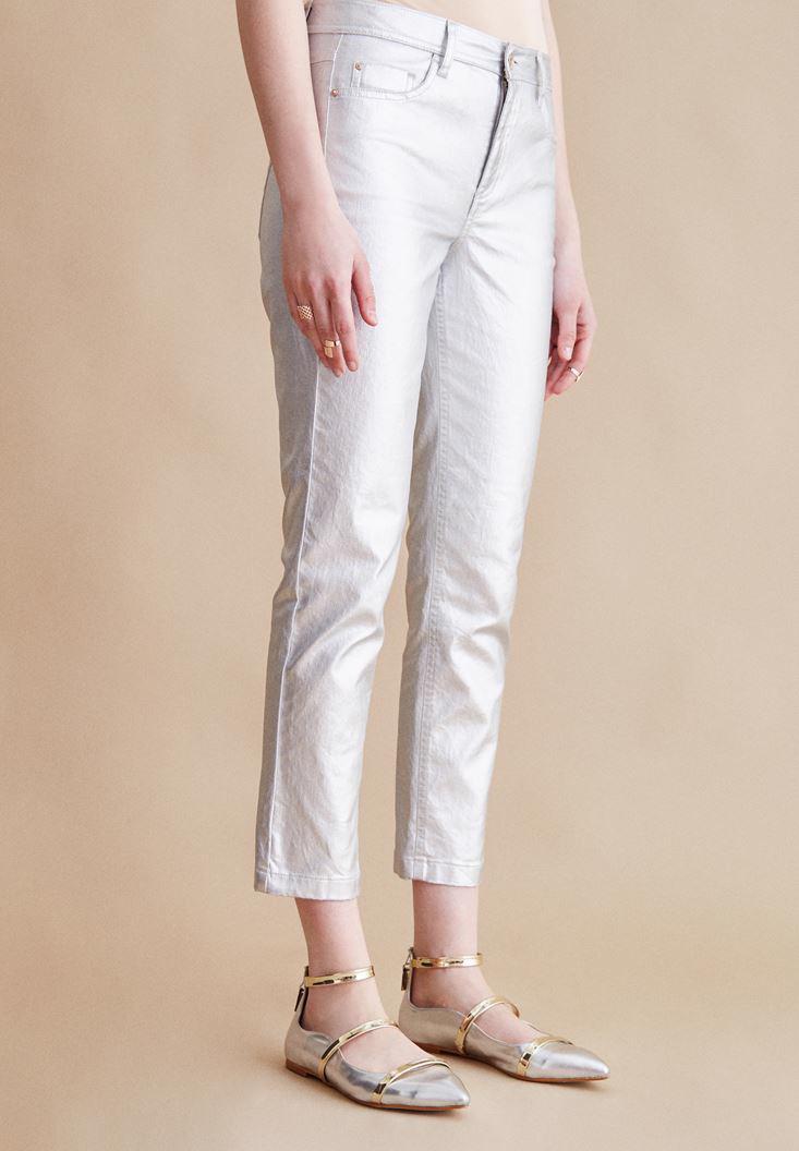 Bayan Gri Metalik Pantolon