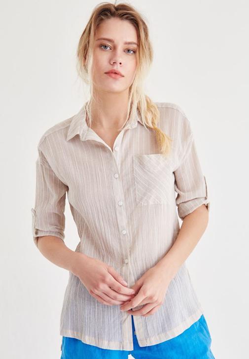 Krem Pamuk Gömlek