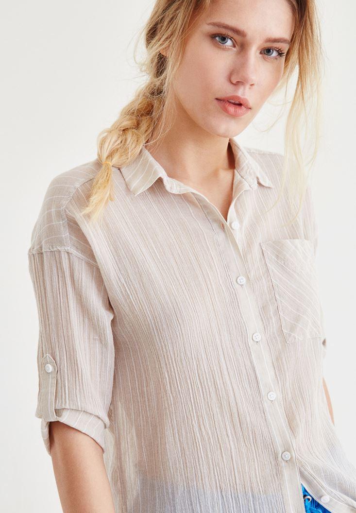 Bayan Krem Pamuk Gömlek