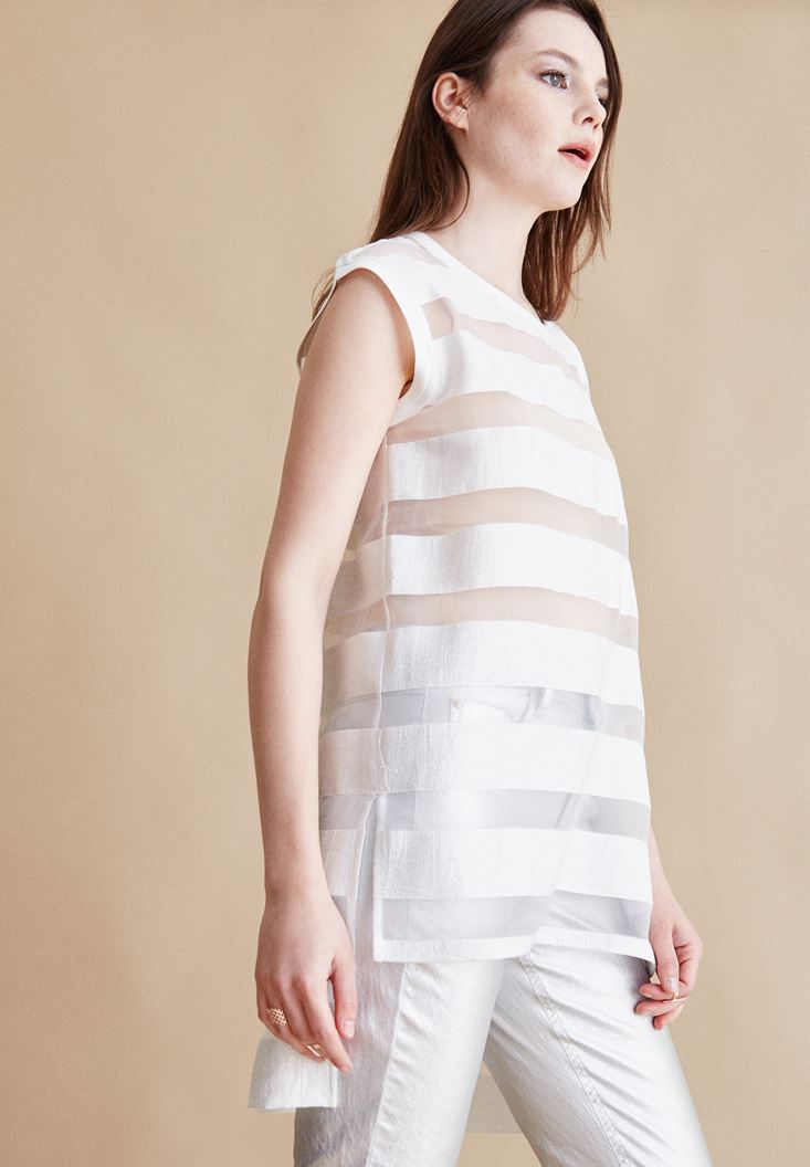 Cream Stripped Silvery Blouse