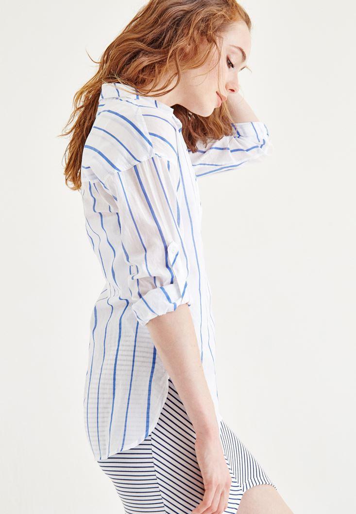 Bayan Çok Renkli Çizgili Gömlek
