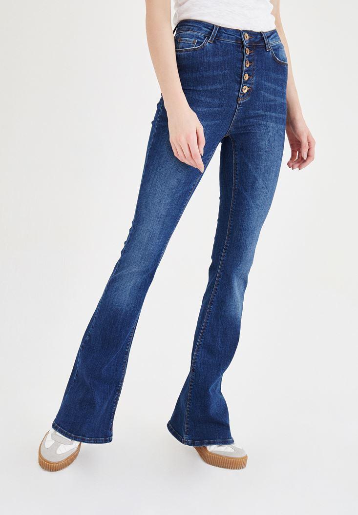 Mavi Yüksek Bel İspanyol Paça Pantolon