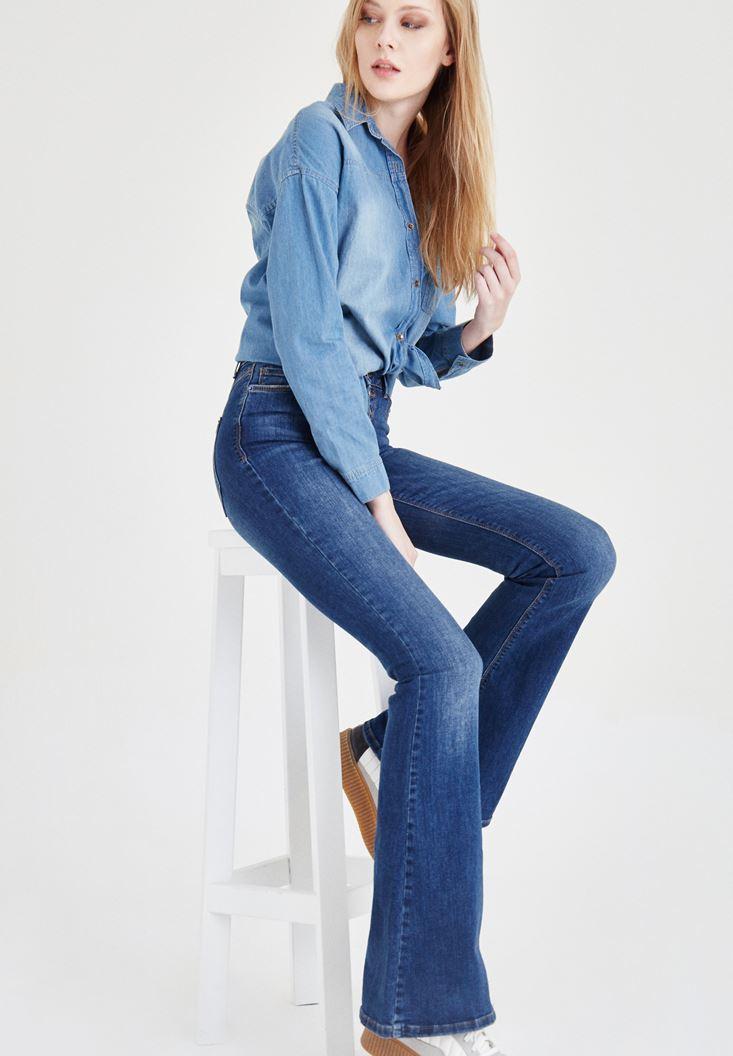 Yüksek Bel İspanyol Paça Pantolon