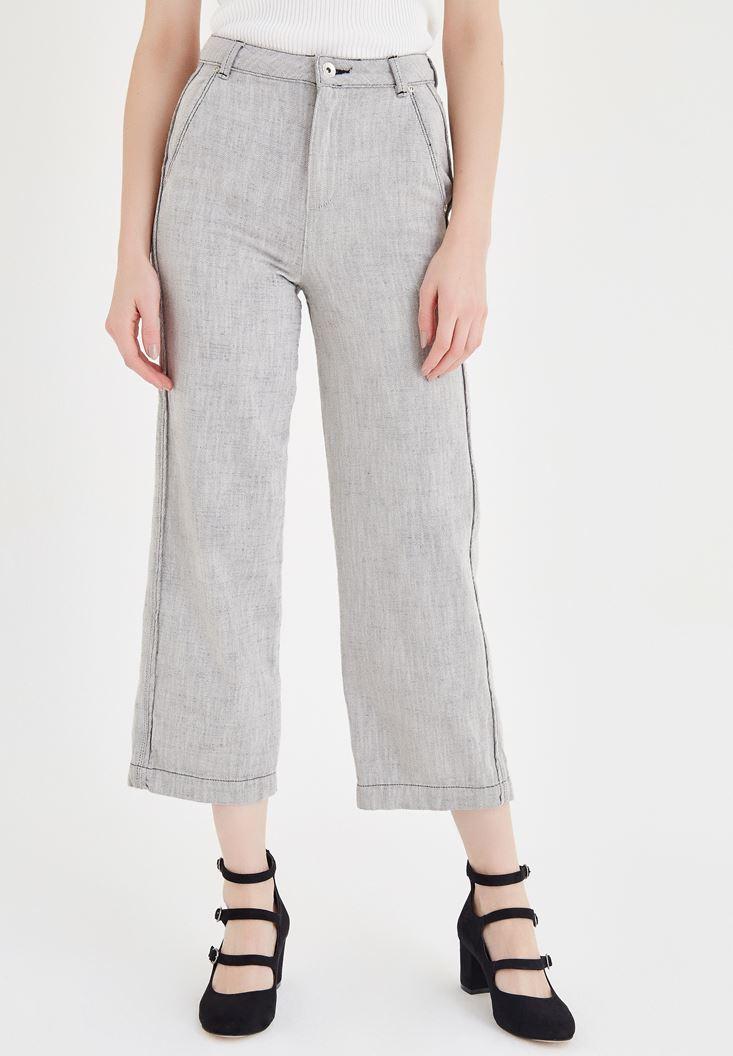Gri Bol Kesim Pantolon
