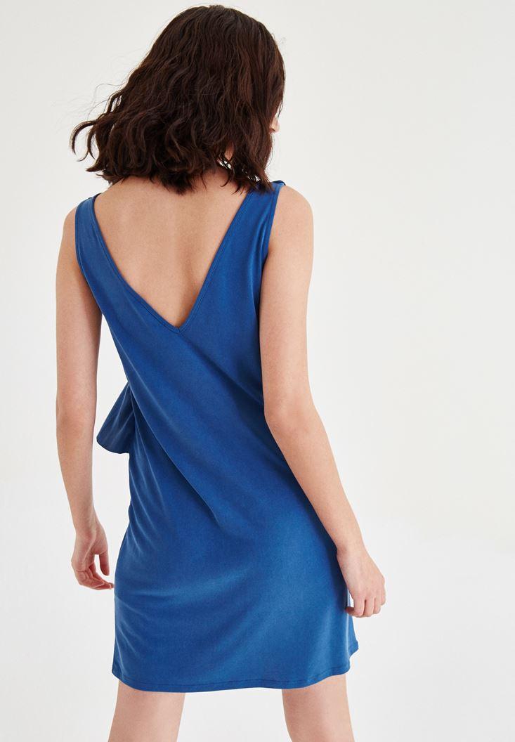 Bayan Lacivert Kolsuz Fırfır Detaylı Elbise