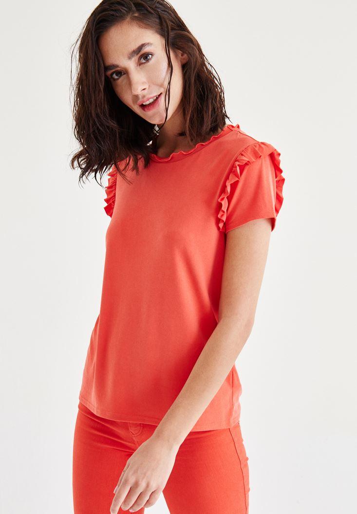 Kırmızı Fırfır Detaylı Bluz