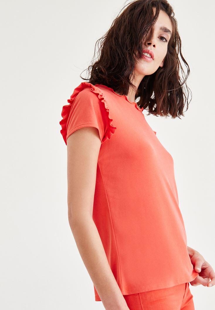 Bayan Kırmızı Fırfır Detaylı Bluz