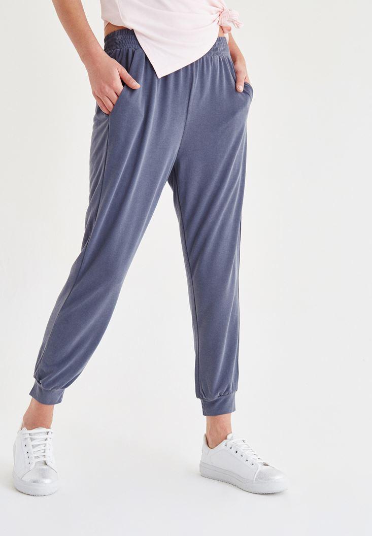 Gri Beli Lastikli Pantolon
