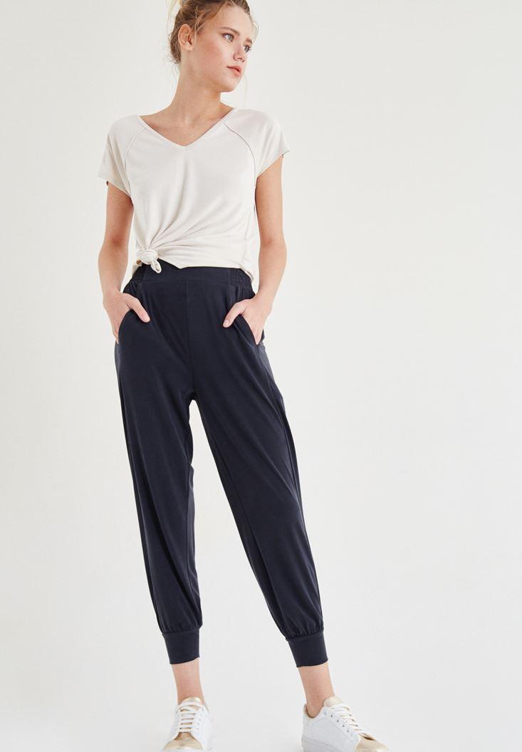 Bayan Siyah Beli Lastik Detaylı Pantolon