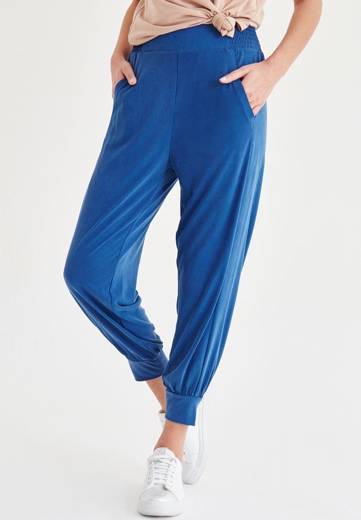 Lacivert Beli Lastik Detaylı Pantolon